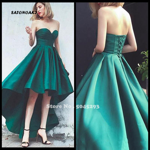 Simple Green High Low Prom Dress Sweetheart Lace Up Corset Bodice A Line Satin Party Evening Gown Undefined Sukienki Online Shop