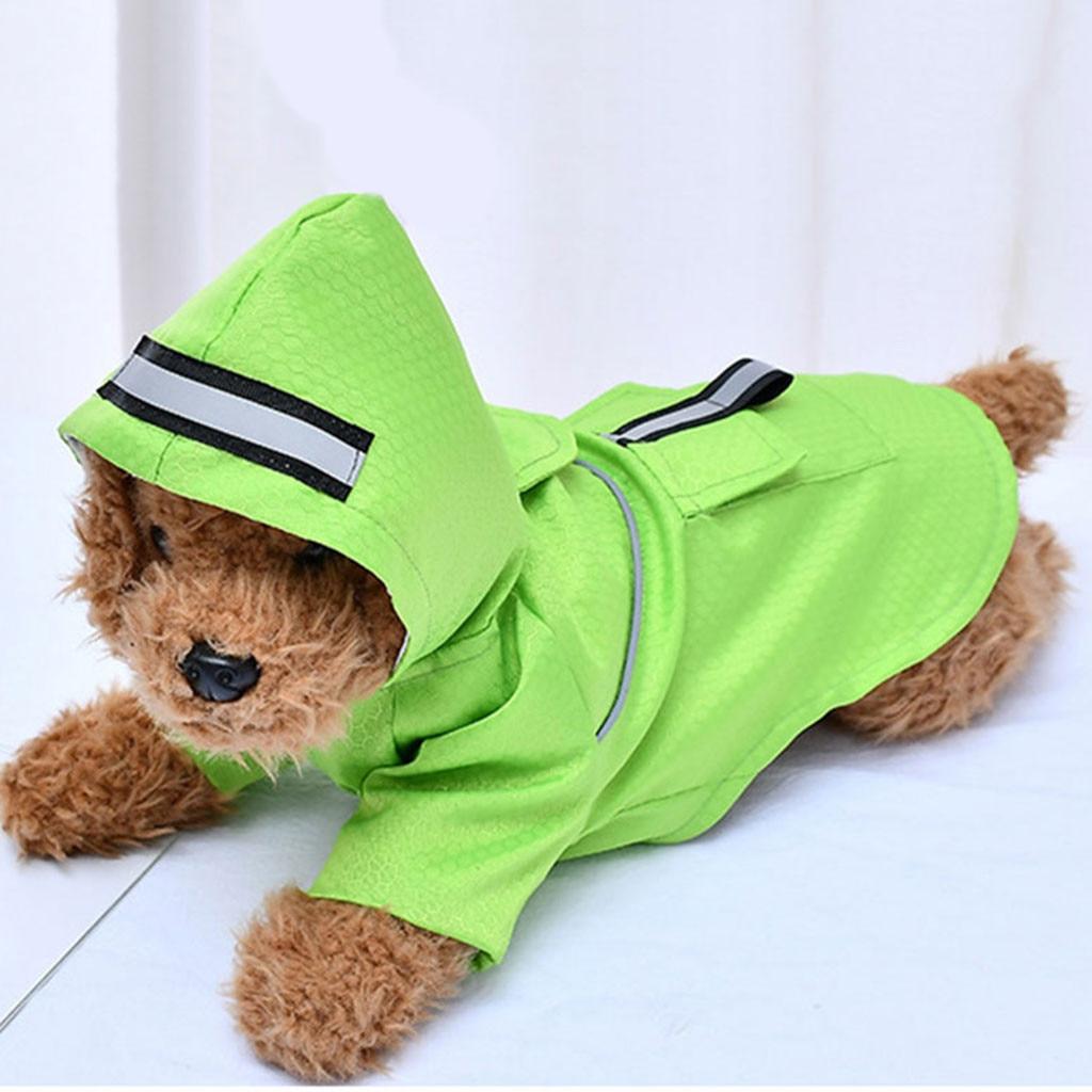 Chubasquero de doble capa para mascotas, impermeable, con bolsillos, reflectante, para exteriores