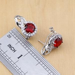 Image 4 - Doğal 925 gümüş takı kırmızı zirkon beyaz CZ tılsım küpe kolye kolye yüzük bilezik takı setleri kadınlar için
