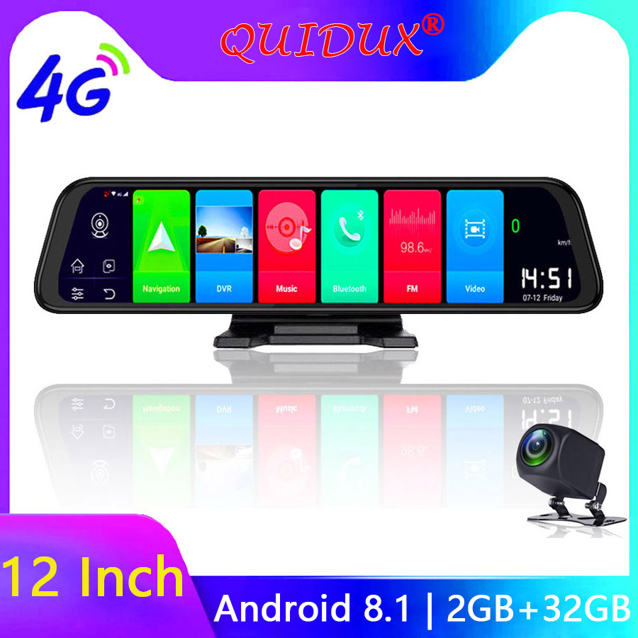 QUIDUX 4G Android 8.1 Dash Camera 12 Inch Rear view Mirror GPS Navigation FHD 1080P Car DVR video registrator WiFi Recorder 2+32