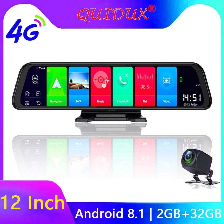 QUIDUX 4G Android 8.1 Traço Camera 12 Polegada Espelho retrovisor de Navegação GPS FHD 1080P Carro DVR vídeo registrator Gravador Wi-fi 2 + 32