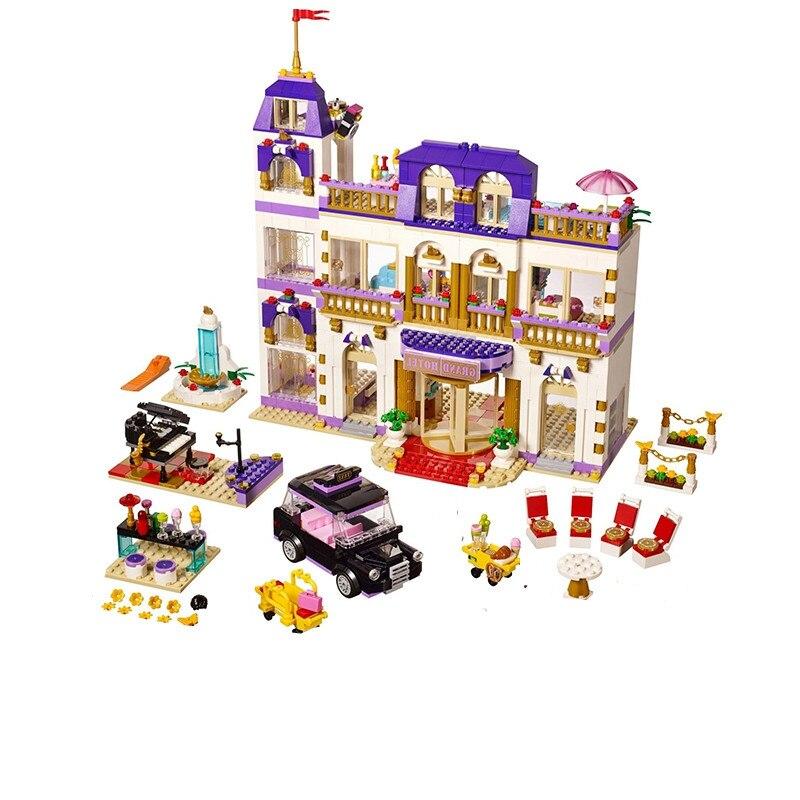1676Pcs Heartlake Grand Hotel เพื่อนบล็อกอาคารอิฐเข้ากันได้ Legoinglys เด็ก DIY ของขวัญวันเกิดของเล่นเด็ก-ใน บล็อก จาก ของเล่นและงานอดิเรก บน   1