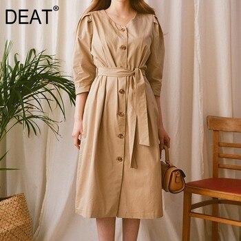 DEAT Khaki V-neck Lantern Five-point Sleeve Single-breasted Belt Waist Woman Dress Casual Simple Fashion 2020 spring New TD233