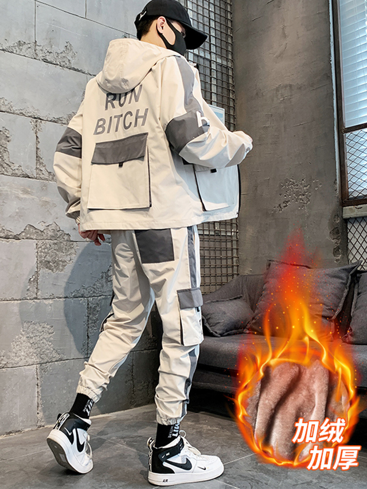 Winter Casual Fashion Sweatsuits Tracksuit Men Set Hoodie And Pants Men Sweat Suits Track Jacket Sportwear Hommes Coat JJ60NT