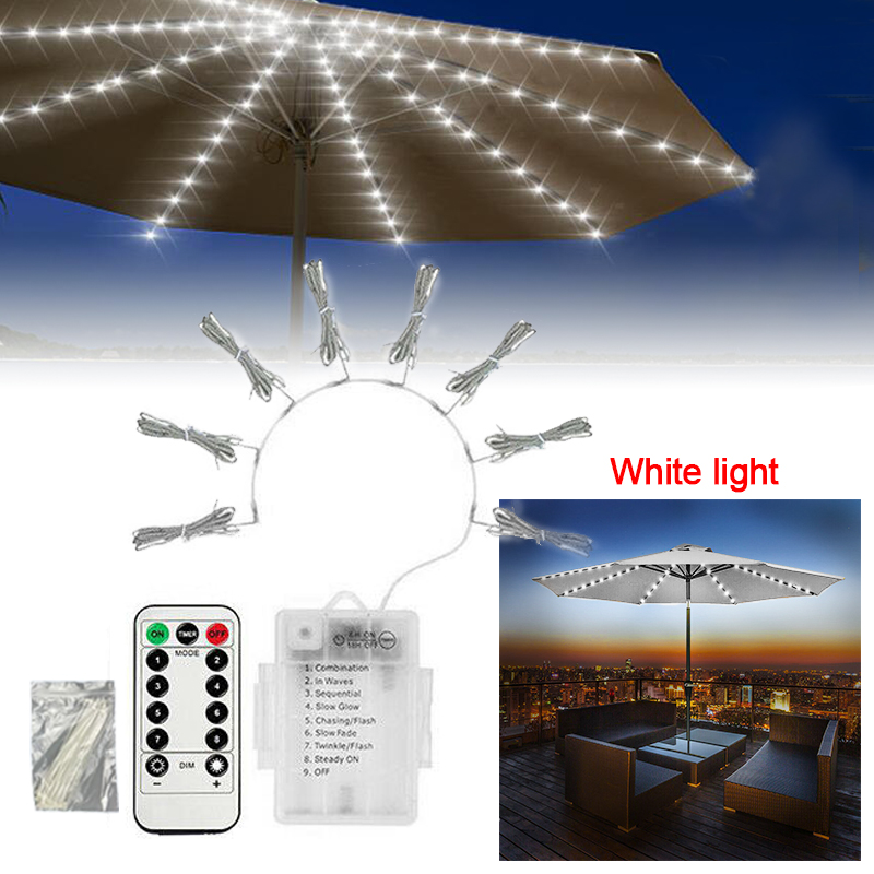 72LED Solar powered / 104 <font><b>Battery</b></font> with Remove Control <font><b>LED</b></font> Parasol String Light Garden Patio Table Umbrella Fairy Lights image