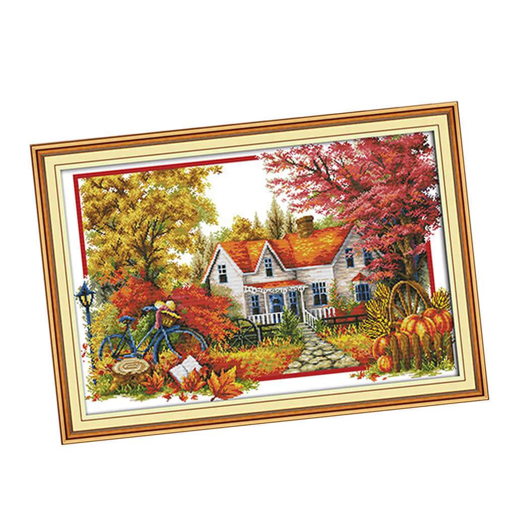 11CT Stamped Scenery Cross Stitch DIY Embroidery Threads Set Needlework 20