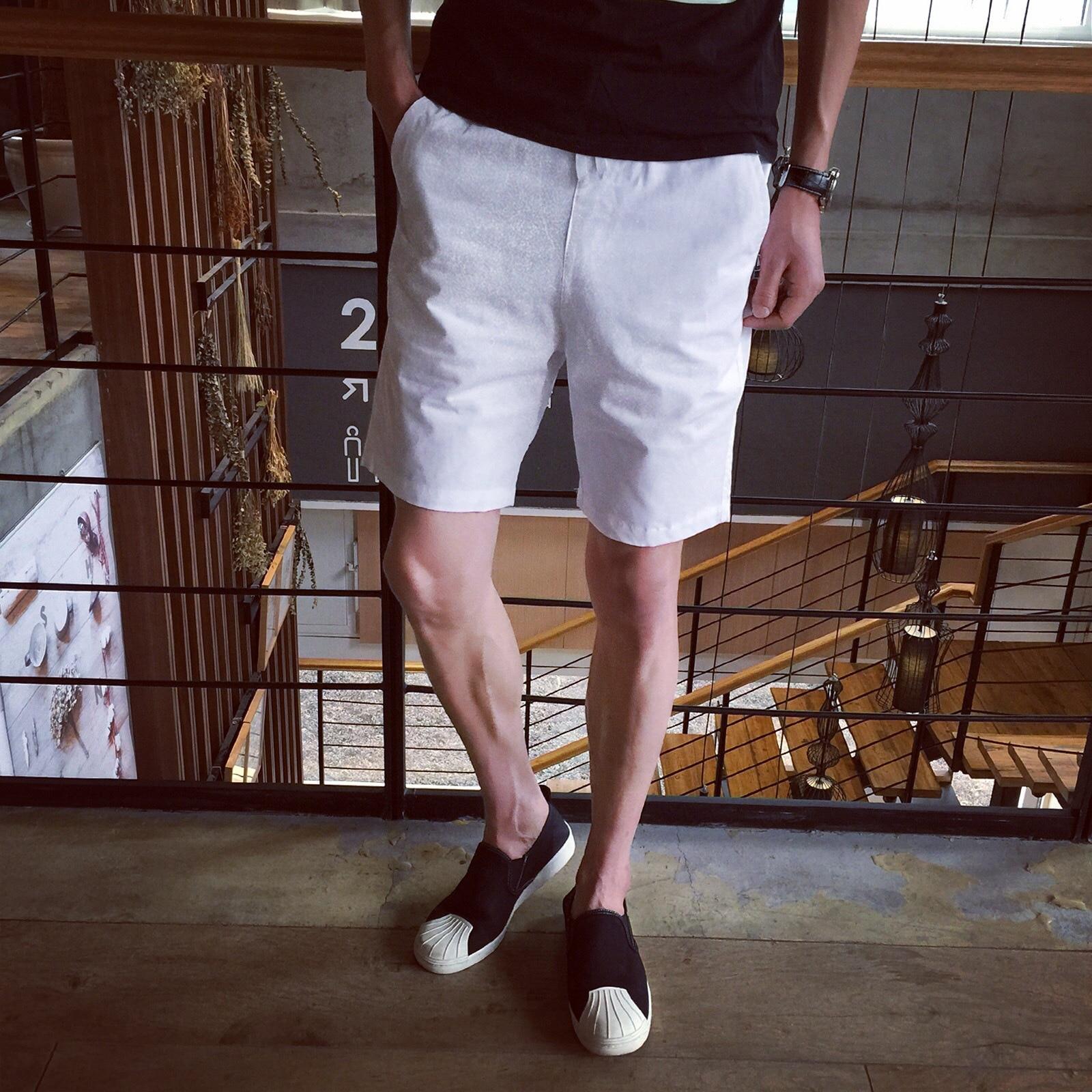 Summer Men Thin Solid Color Sports Shorts Men's Korean-style Casual Capri Pants Short Multi-color Beach Shorts Large Size Men's
