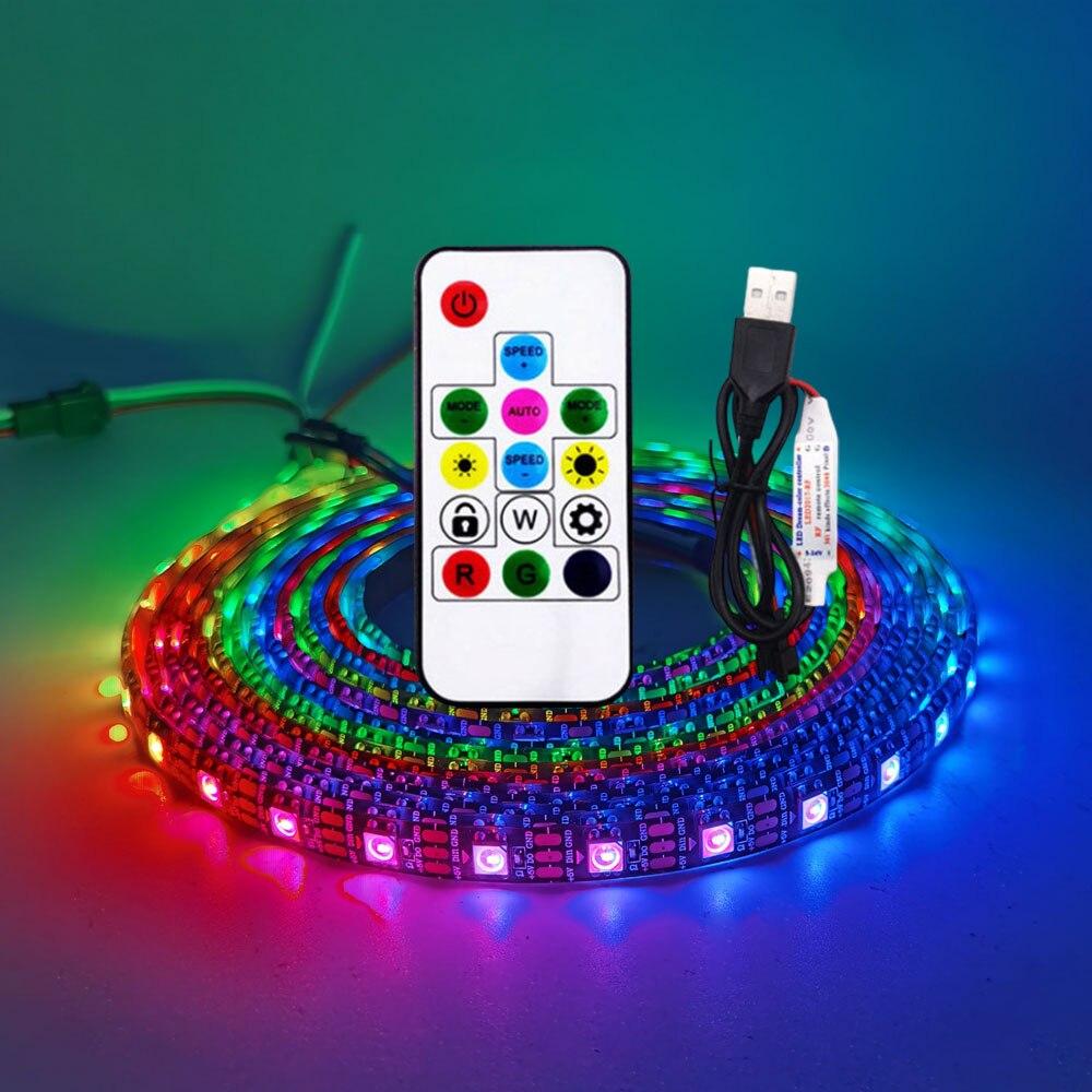 USB Светодиодная лента RGB WS2812 WS2812B, Пиксельная Адресуемая Пиксельная лента, 14 клавиш, пульт дистанционного управления для телевизора, лампа дл...