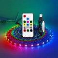 USB LED Streifen RGB WS2812 WS2812B Address Pixel Band 14 Tasten Fernbedienung Für TV Zurück Unter Schrank Lampe DC5V 1-5M