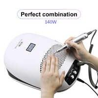 140W 3-en-1 taladro de uñas máquina de manicura y aspiradora de polvo de uñas y Extractor de lámpara UV ventilador para manicura herramienta de uñas colector de polvo