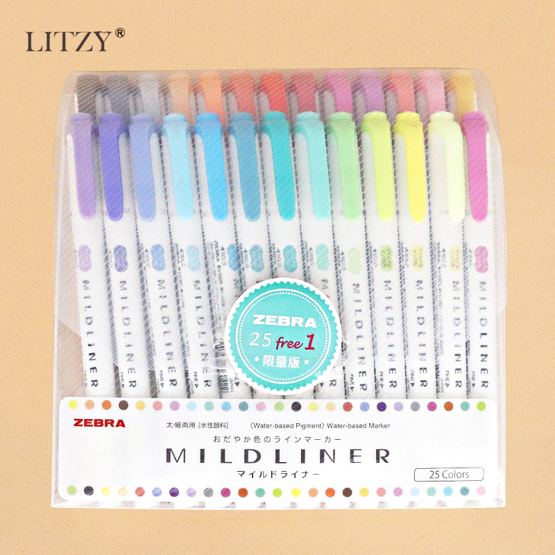 Japanese Zebra Mild Liner Double Headed Fluorescent Pen Set Creative Highlighters Drawing Marker Pen School Supplies 25Pcs/lot