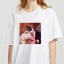 Футболка женская с принтом кошки модный топ Повседневная футболка