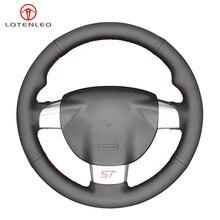 Lqtenleo couro artificial preto diy volante do carro capa para ford focus st 2005 2010 foco rs 2005 2011 foco 3 2005 2010