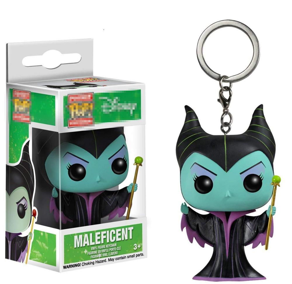 Funko Pop Princess Maleficent Keychain Toy Maleficent Pocket Pop Keyring Action Figure Key Ring Car Bag Toys With Retail Box