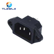 1pcs IEC320 C14 AC Power Socket 250V 10A 3-pin With Ears For Electric Car Computer Power Socket Screw Fixed Copper Core