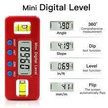 360� Magnetic Torpedo Level Tool Digital Angle Finder Inclinometer Digital Protractor Spirit Level Portable Gauge Bevel Box