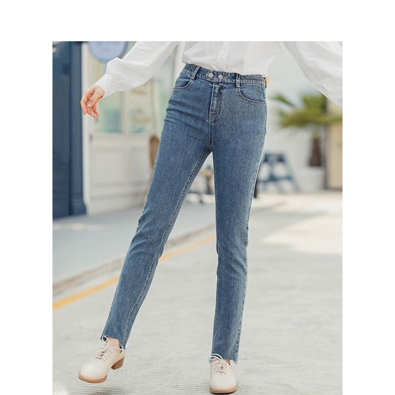 INMAN 2020 Spring New Arrival Retro Medium High Waist Irregular Slim Women Long Jeans