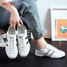 HQFZO Casual Flat Women Sneakers Light White Shoes PU Leather Lace Up Walking Shoes Mujer pu patchwork lace up sneakers