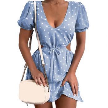 Dress Polka Dot Print Soft Women Hollow Waist Dress for Dating 1