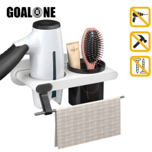 Wall Mount Hair Dryer Holder Adhesive Blow Dryer Shelf with Storage Cup Hair Tools Organizer with Plug Hook Bathroom Accessories