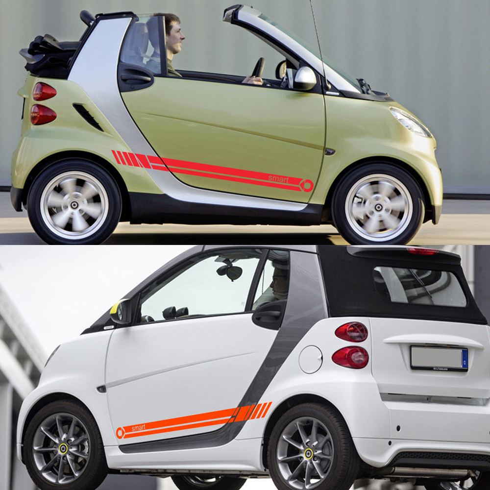 lowest price 2pcs Car Door Side Stripe Vinyl Film Sticker Decal Decoration For Smart 451 453 fortwo forfour Car Accessories