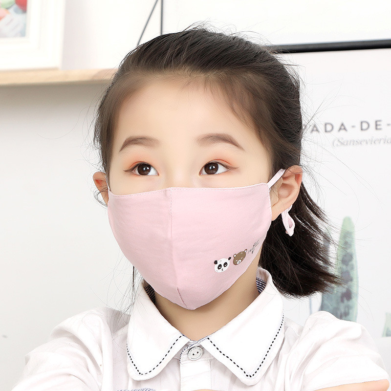 5PCS Kids Masks Cotton Children Cartoon Mask Breathable Anti-fog Mask Washable Windproof  Dust Mask Fits 2-10 Years Old Kids