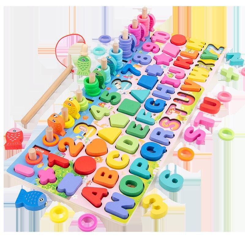 Wooden Multi-functional Digital Board Children's Building Blocks Montessori Education Digital Teaching Aids Mathematical Puzzle