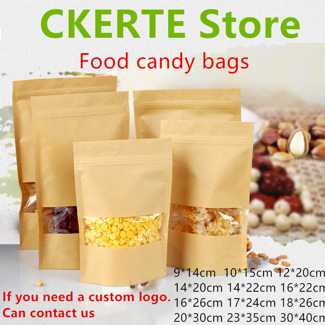 100pcs Kraft Paper Bag Zip Lock Stand Up Bag with Window,event party Gift Bags Tea Packaging candy Food birthday gift Pouches
