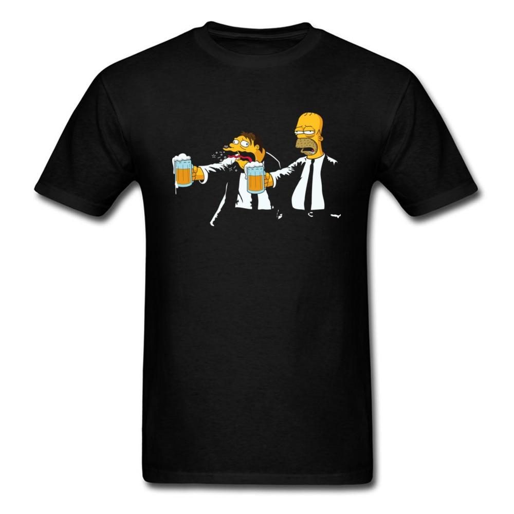 Discount Cartoon Tshirts Pulp Fiction Bart Family Beer Funny Tops T Shirt Boy 100% Cotton Mens T Shirt Autumn Clothing Shirt