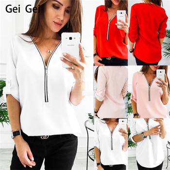 European new fashion women V-neck zipper t shirt girl casual pink red five-point sleeve shirts ladies summer large size tops