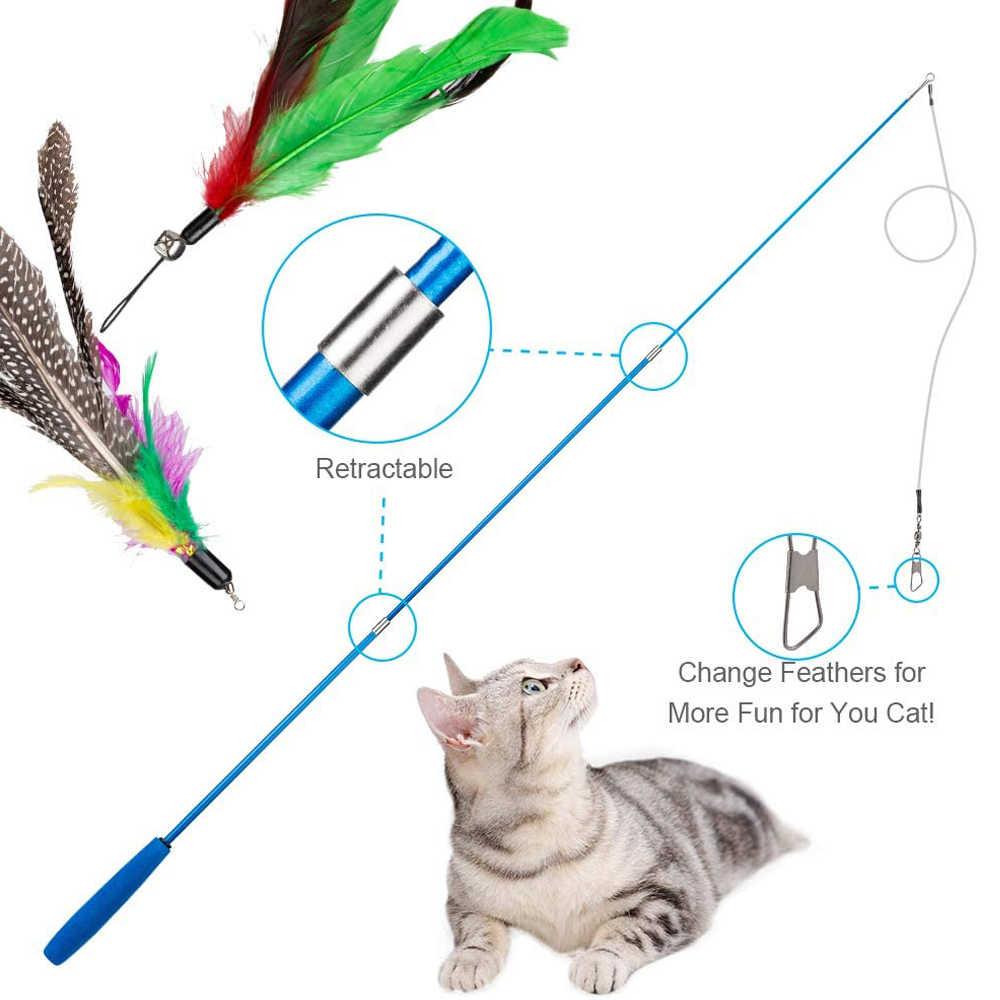 11 Pz/set Teaser Cat Catcher Retrattile Canna Da Pesca Bacchetta Asta Piuma Giocattolo, Grande per il Gattino Cane Esercizio Fisico
