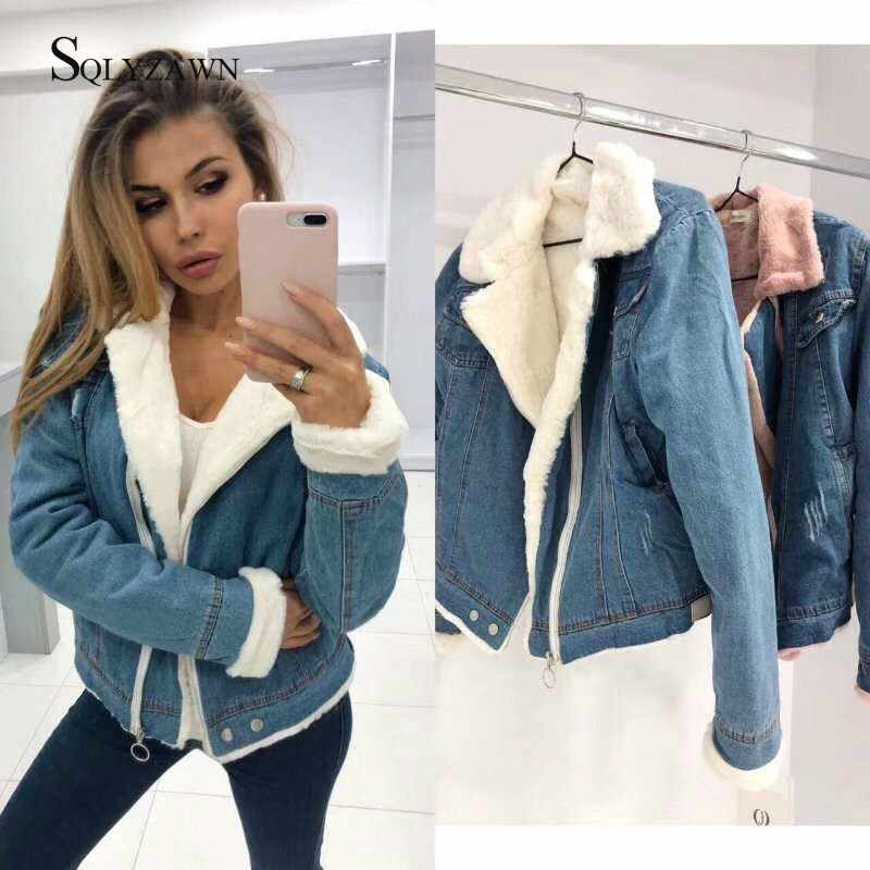 Warm Velvet Thick Wool Liner Denim Jacket Women Winter Casual Jeans Jacket Lamb Fur Coat Female Vintage Boomer Thick Streetwear