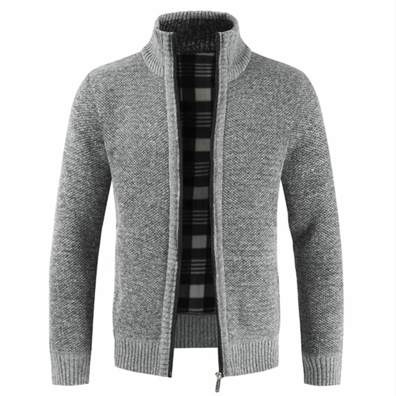 NEGIZBER 2019 Autumn Winter New Men's Jacket Slim Fit Stand Collar Zipper Jacket Men Solid Cotton Thick Warm Jacket Men 1