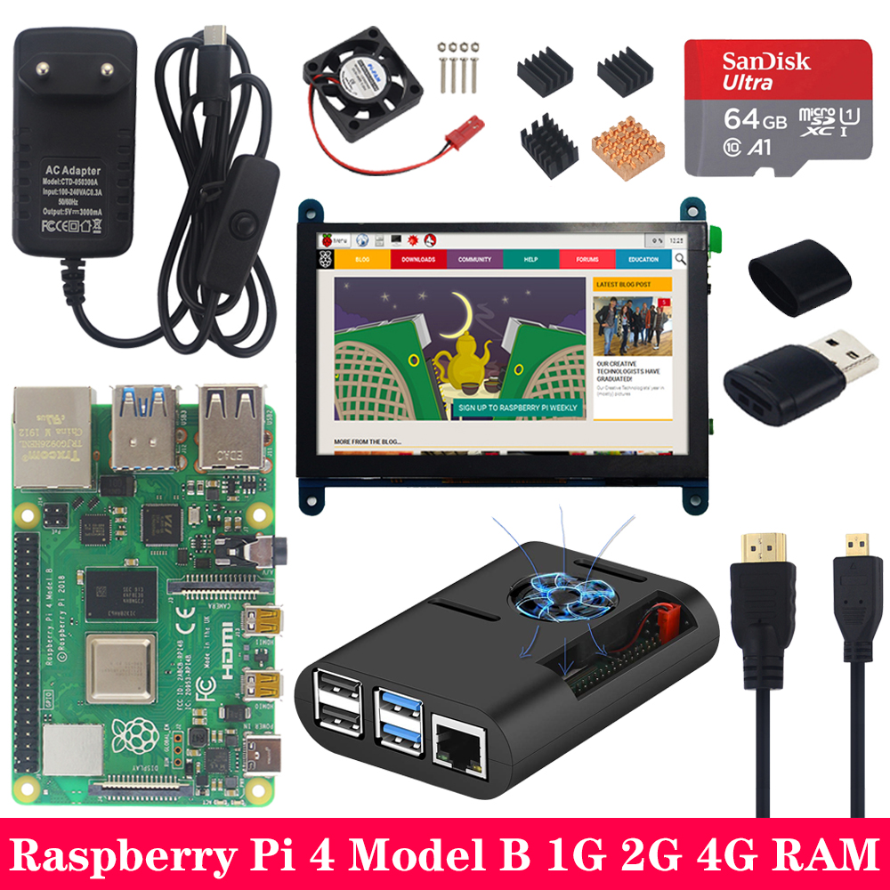 Raspberry Pi 4 Model B With 5 Inch 800*480 Touchscreen LCD Power Charger Case SD Card Heat Sink For Raspberry Pi 4B