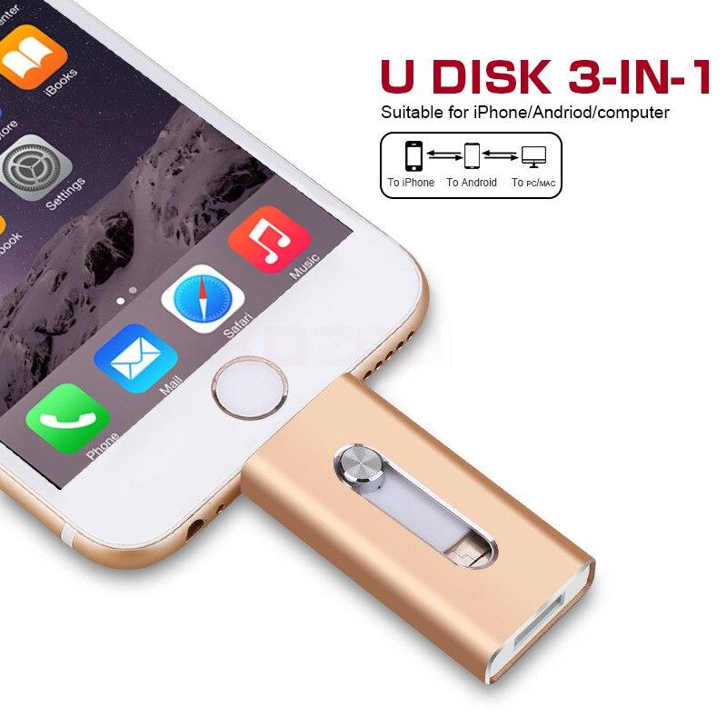 Новый OTG iFlash флешки 128 ГБ USB флэш-накопитель USB 3,0 128 Гб 64 ГБ 32 ГБ оперативной памяти, 16 Гб встроенной памяти, 8 Гб флешки для iPhone/iPad/iPhone 7 iPod iOS Android ...