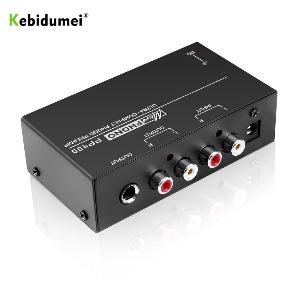 Kebidumei ultra-compacto phono preamplificador com rca 1/4 Polegada suporte trs interfaces preamplificador phono preamp pp400