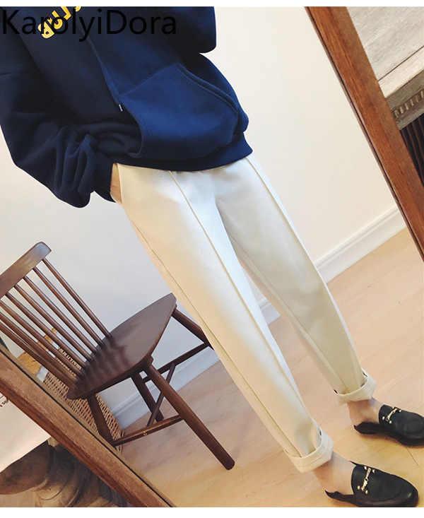 2019 新冬の厚手のウールのハーレムパンツ女性の足ニンジンパンツ大サイズ 9 点ゆるいカジュアルなストレートスーツのズボン