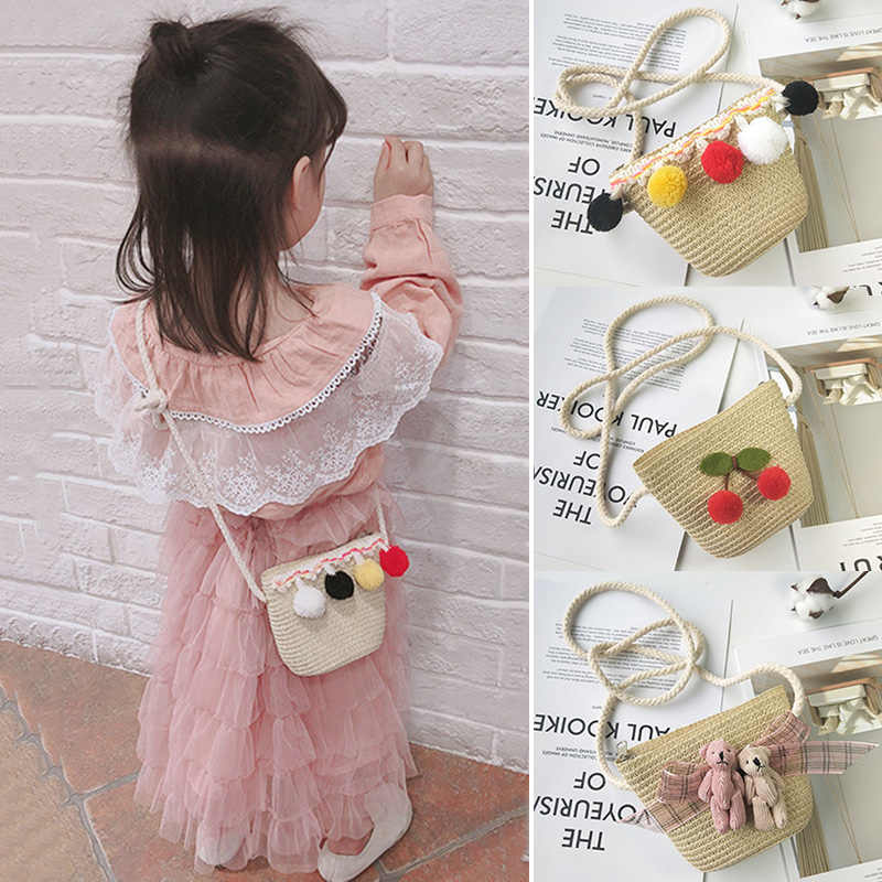 Anak Gadis Jerami Bahu Crossbody Tas Cute Portable untuk Musim Panas Pantai Uang LT88