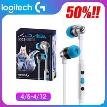 Logitech g333 3.5mm kda edição limitada in-ear jogos fones de ouvido com microfone usb para computador portátil jogos lol k/da fone de ouvido