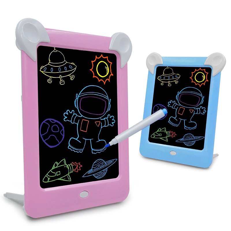 Hot Selling LED Shining Drawing Board Electronic Fluorescent WordPad Children Light Painted 3D Handwritten Message Board