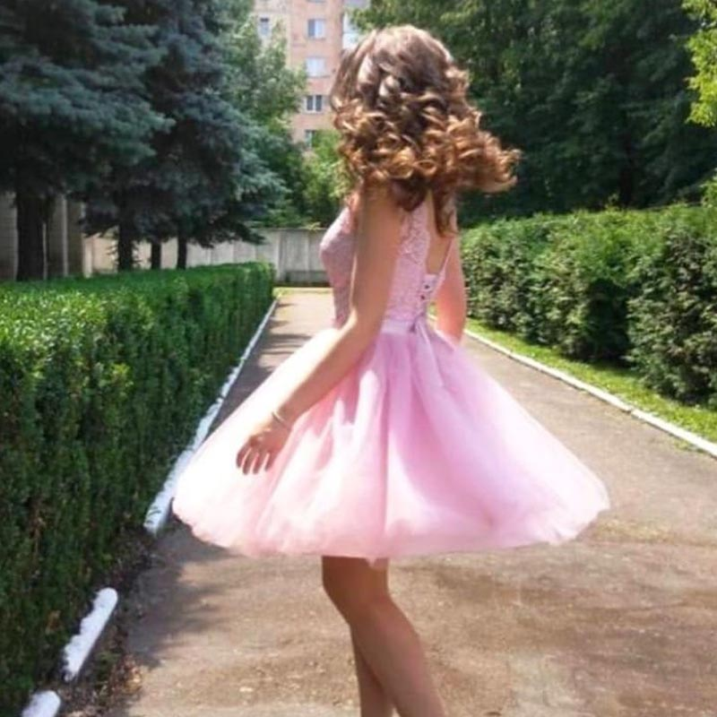 Pretty Custom Made illusion Tulle Lace Top Pink Homecoming Dresses in Homecoming Dresses from Weddings Events