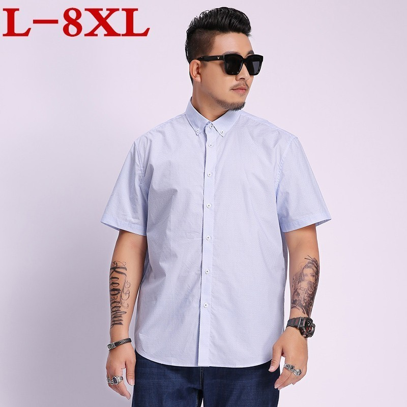Big Size 8xl 7xl 6xl 5xl Men's Shirt New Fashion Cotton Men Social Shirt Mens Short Sleeve Shirts Man Polka Dot Casual Plus Size