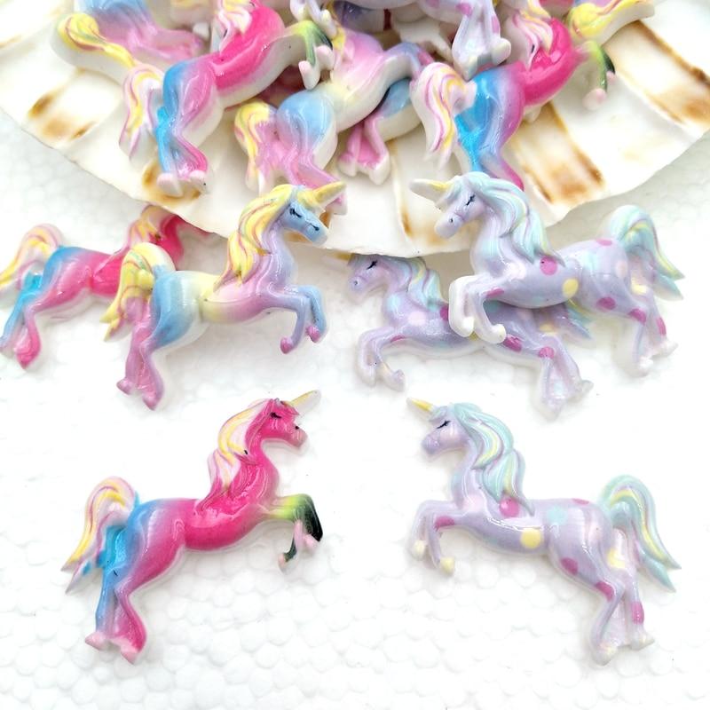10Pcs Kawaii Cute Unicorn Flat Back Resin Cabochons Scrapbooking DIY Jewelry Craft Decoration Accessories