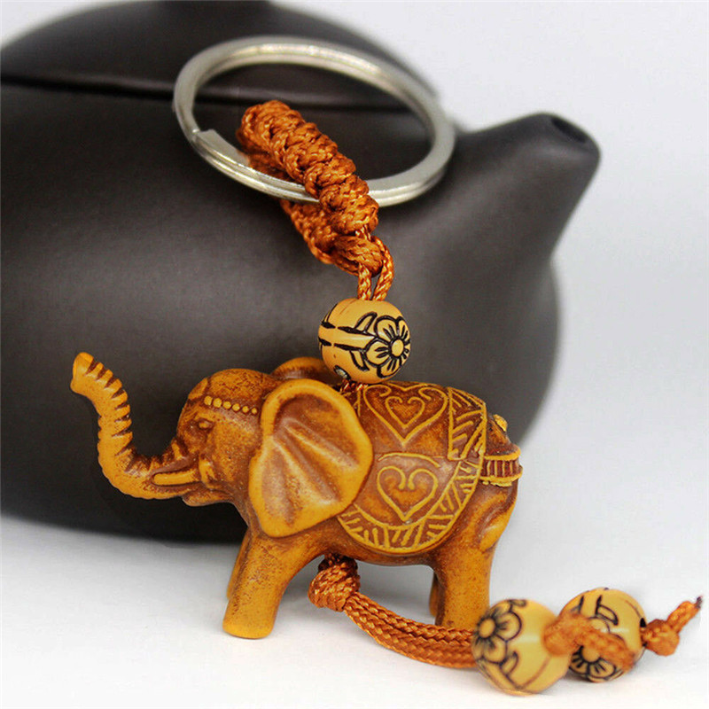 2Pcs Handmade Wooden Carving Lucky Elephant Keychain Key Chain Ring Evil Defends Elephant Pendant Women Girl Craft Gifts