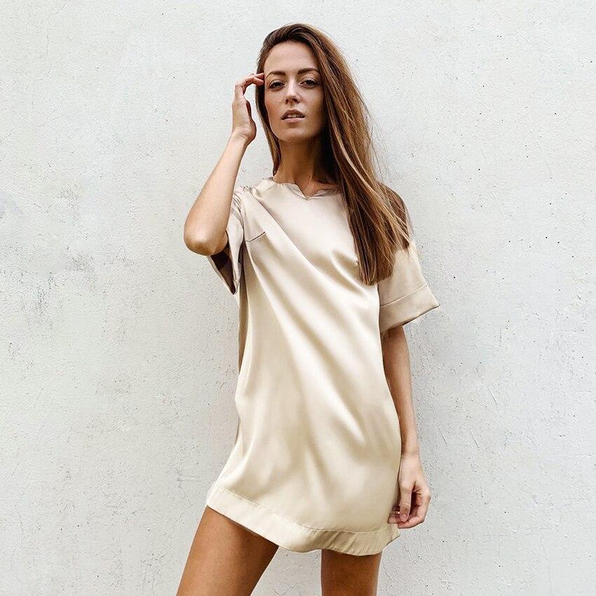 HiLoc Pure Color Khaki Night Dress Women Sexy Nightgown Short Sleeve Home Dress Mini Loose Sleepwear Satin Nightwear Autumn 2020 1