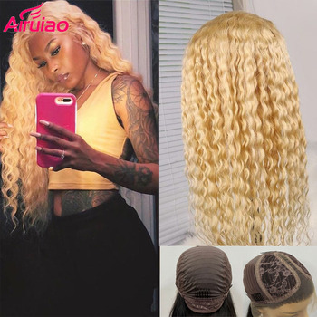 Glueless 613 Blonde Human Hair Water Wave Lace Wig Preplucked Baby Hair Brazlian HD Invisible Transparent Lace Frontal Wig Remy image