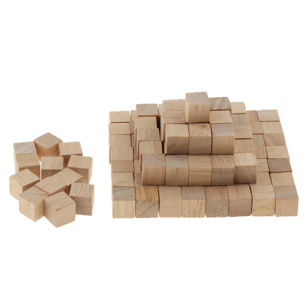 1cm em branco cubos de madeira blocos de madeira para crianças chuveiro do bebê diy artesanato escultura arte suprimentos, pacote de 100