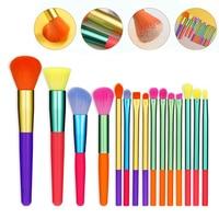 15PCS Make-Up Pinsel Lidschatten Pinsel Frauen Schönheit Mode Tragbare Bunte Griff Neue Blending Pinsel Set Blush Foundation Werkzeug
