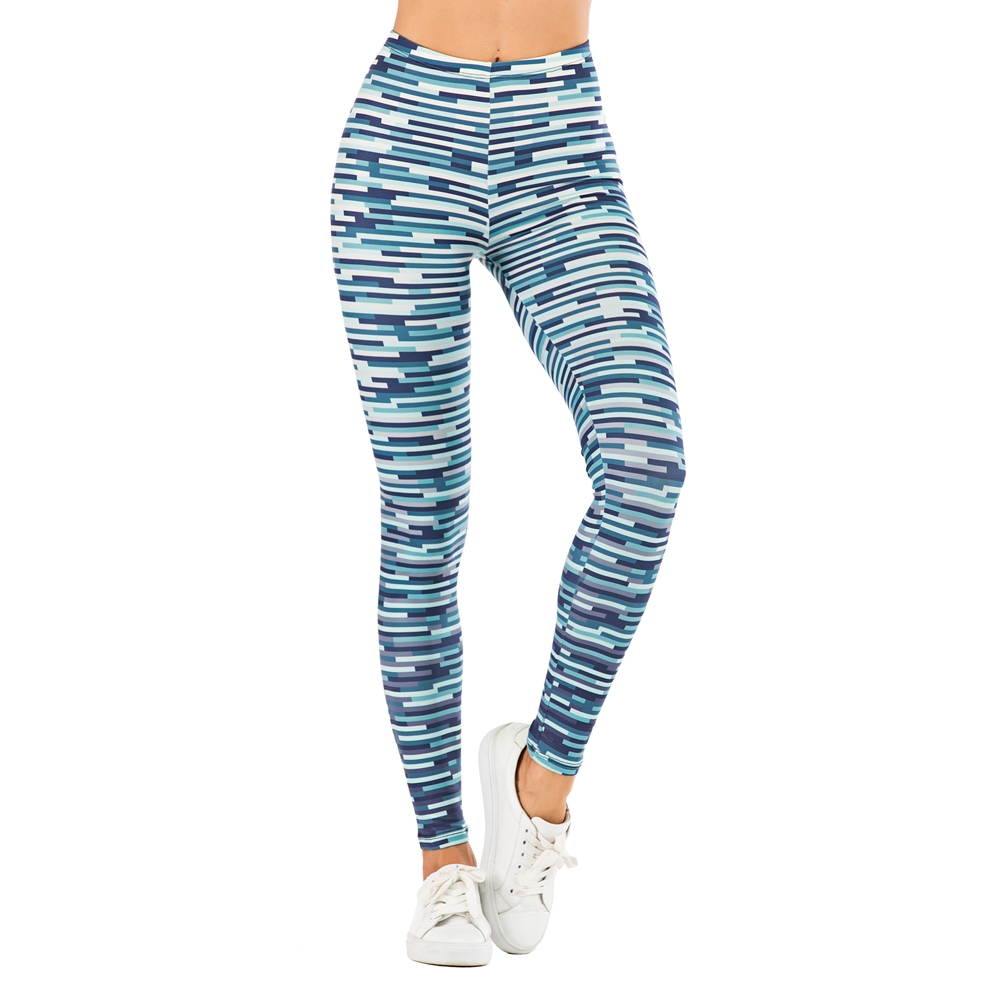 Fashion Woman Pants Sexy Women Legging Casual Blue Streak Printing Fitness Leggins Slim Legins Stretchy Leggings
