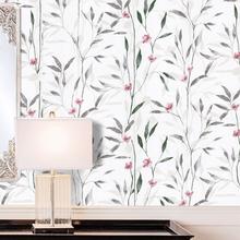 Peel and Stick Floral Leaf Wallpaper Wall Green/Grey Vinyl Self Adhesive Wall Paper Design For Walls Bathroom Bedroom Home Decor